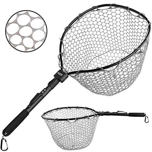 "PLUSINNO Fly Fishing Net, 16"" x 13"" Fish Landing Net, Soft Rubber Safe Catch and Release Folding Fishing Nets for Fresh Water"