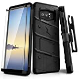 ZIZO Bolt Series for Samsung Galaxy Note 8 Case Military Grade Drop Tested with Tempered Glass Screen Protector Holster Black