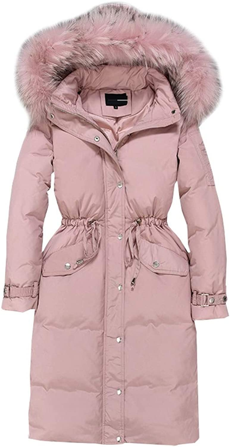 LQYRF Female Decoration Body Fur Collar Hooded Thick Pink Down Jacket 90% Duck Down