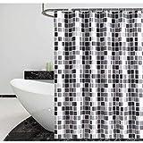 Duschvorhang 240x200 Wasserdicht, Badewanne Duschvorhänge Waschbar aus Polyester, Bad Gardinen Badewanne Badvorhang Shower Curtains mit 14 Duschvorhangringen haken für Badzimmer