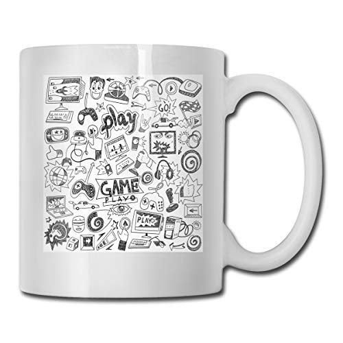Jolly2T Funny Ceramic Novelty Coffee Mug 11oz,Monochrome Sketch Style Gaming Design Racing Monitor Device Gadget Teen 90s,Unisex Who Tea Mugs Coffee Cups,Suitable for Office and Home