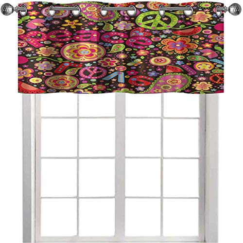 """Thermal Insulated Window Curtain Valance, Hippie Colorful Paisley Leaves Music Keys Typography Idealism Historic Revolution, 1 Panel 42"""" x 18"""" Decor for Kitchen,brathroom,Living Room, Multicolor"""