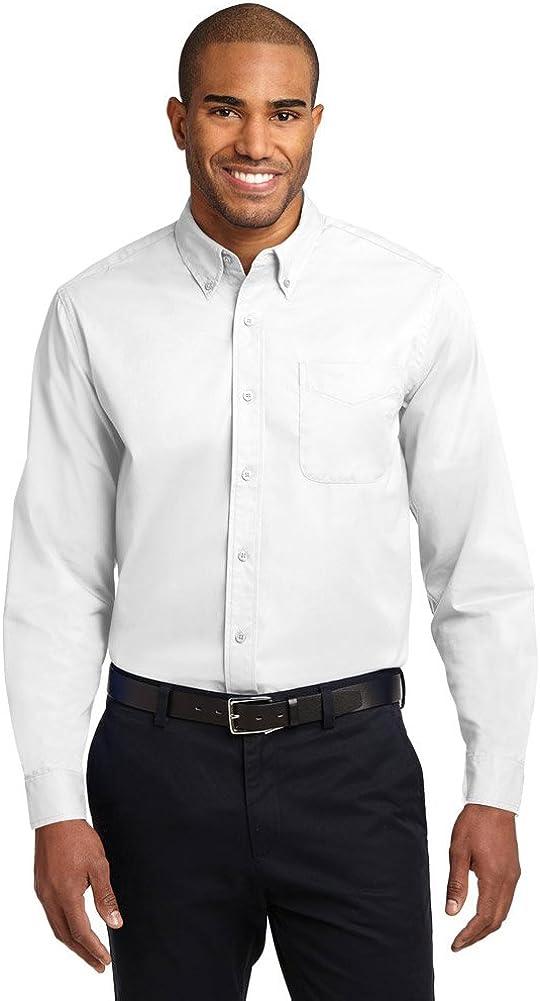 Port Authority Tall Long Sleeve Easy Care Shirt, White/Light Stone