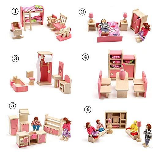 Huayao 6 Set Wooden Dollhouse Toys with 4 People Wooden Family Dollhouse Furniture Set