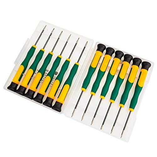 MMOBIEL 12 Stück magnetische Schraubenzieher Set für Smartphones iPhone iPad MacBook Pro & Air Laptop Tablet T2 T3 T4 T5 T8 T8 PH00 PH000 Pentalobe 0,8 1,2, 20, 2,5 Tri-Wing, Micro-Flat