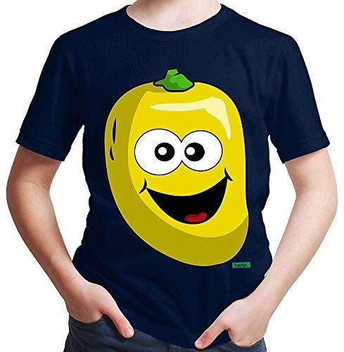 Hariz - Camiseta de manga corta para chico, diseño de frutas y verduras azul marino 24 meses