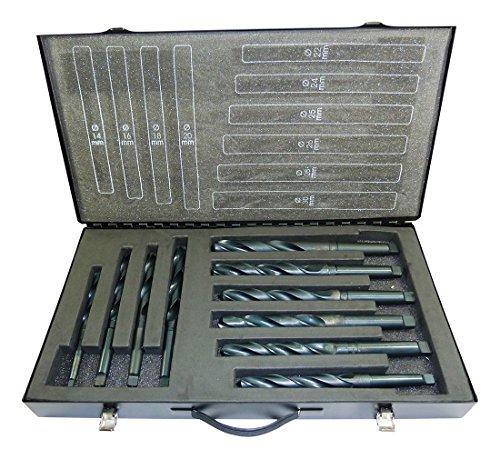 10x Spiralbohrer HSS 14-30mm + Aufnahme MK2 MK3 HSS DIN 345 Typ N Terrax by Ruko