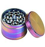 MONOJOY Herb Grinder 4 Piece 2.05 Inch Zinc Alloy Magnetic Lid Grinders with Pollen for Girls Rainbow