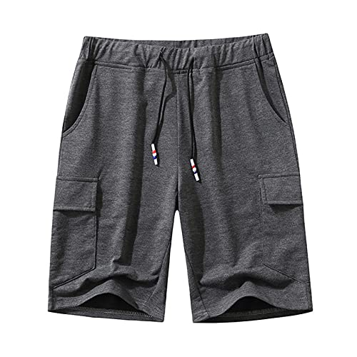 SAMACHICA Men's Casual Cotton Drawstring Shorts Jogger Gym Workout Short Pants with Elastic Waist and Pockets Grey