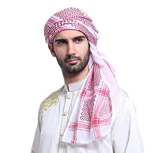GladThink Men's Muslim Scarf Shawl Turban Sorban 55in Red