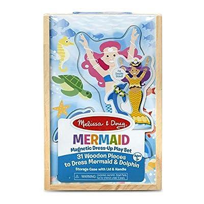 Melissa & Doug Mermaid & Dolphin Magnetic Dress-Up Wooden Dolls Pretend Play Set (35 pcs) by Melissa & Doug