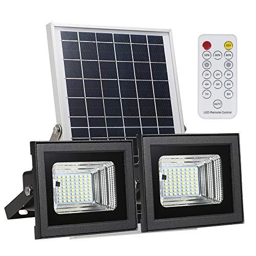 Owsoo Solar-verlichting met led, buitenverlichting, dubbele lamp + zonnepaneel, met 3 lichtniveaus optioneel met geïntegreerde lithiumbatterij, 64 SMD LEDs