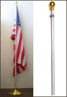 AES 8ft Aluminum Banner Residential Indoor Flag Pole Gold Ball with Base (no Flag)