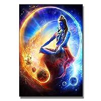 シヴァ神ヒンドゥー教の宗教ポスター宇宙周波数ヒンドゥー教の神の壁アートパネルプリントリビングルームシヴァ像キャンバス絵画インテリア家の装飾40x60cmx1フレームなし