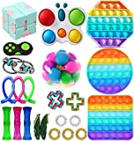 ANGELLY Fidget Toys Set, Sensory Toys Pack Cheap for Kids Adults, Simple Dimple Figetget Toys, Push Pop Bubble Toy Kill Time (Fidget Toy 23 Pack)
