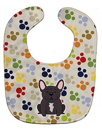 "Price comparison product image Caroline's Treasures BB5838BIB Pawprints French Bulldog Brindle Baby Bib,  10 x 13"",  multicolor"