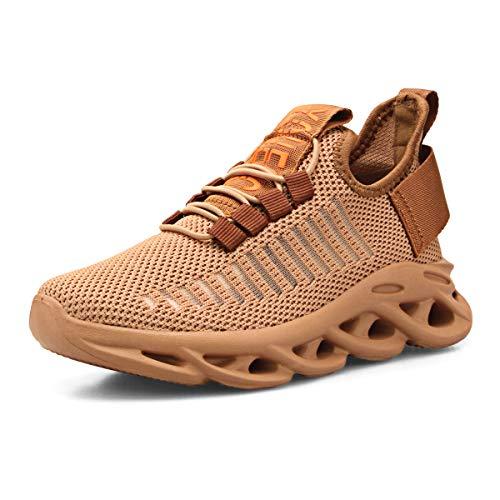 Zapatillas Niño Zapatos Deporte Transpirables Ultraligeras No Requieren Cordones Zapatillas de Correr Niños Casual Running Sneakers Caqui 39