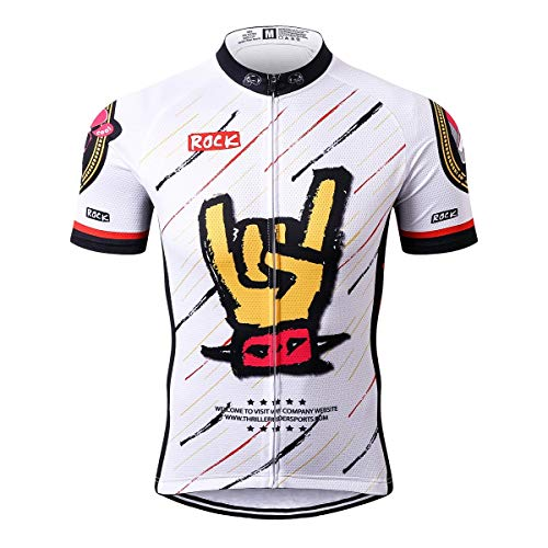 Thriller Rider Sports® Hombre Rock Music White Thriller Rider Sports® Hombre Deportes y Aire Libre Maillot Manga Corta de Ciclismo Large