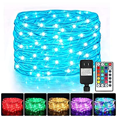 Color Change Led Rope Lights, 52FT 160 LED 16 Colors Fairy Lights with Remote, Waterproof Hanging Outdoor String Lights, Copper Wire Tube Lights for Bedroom, Christmas Wedding Party Decoration Lights