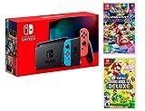 Console Nintendo Switch 32Gb Rouge/Bleu Néon + Manette Joy-Con droite/guche, support Joy-Con station d'accueil Nintendo Switch un câble HDMI, un adaptateur secteur Nintendo Switch - Une paire de dragonnes Joy-Con inclus: New Super Mario Bros. U Delux...