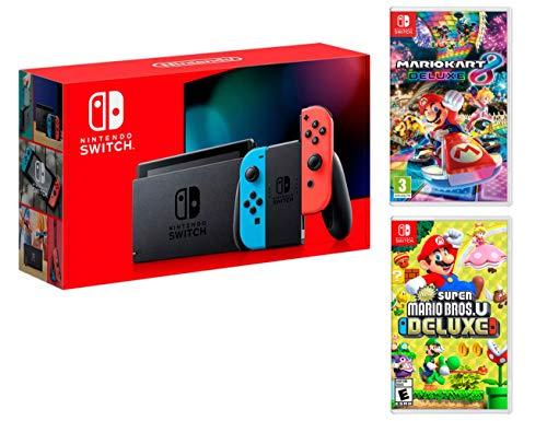 Nintendo Switch Rouge/Bleu Néon 32Go [Nouveau modèle]+ New Super Mario Bros. U Deluxe + Mario Kart 8 Deluxe [Deluxe Pack]