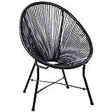 Deuba Acapulco Sessel Stuhl schwarz Retro Design Indoor & Outdoor Wetterfest & Pflegeleicht Gartenstuhl Chair Metall