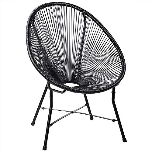 Deuba Acapulco Sessel Stuhl schwarz Retro Design Indoor & Outdoor Wetterfest & Pflegeleicht Gartenstuhl Chair Metall