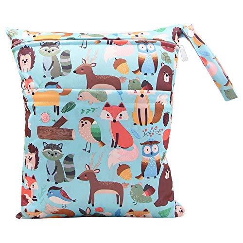 iZiv Bebé Prueba de Agua Reutilizable Wet Dry Bag, Bolsas para Pañales, Reutilizable Impermeable Lavable Suspender Grandes Organizador Doble Cremallera Impresión Bolsa de Pañales