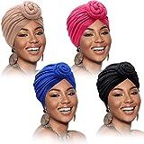4 Pieces African Pattern Headwrap Pre-Tied Bonnet Turban Knot Beanie Cap Headwrap Hat (Pure Color)