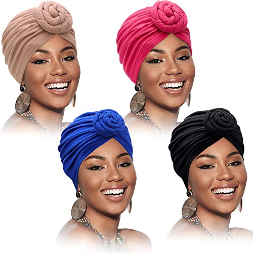 4 Pieces African Pattern Headwrap Pre-Tied Bonnet Turban Knot Beanie Cap Headwrap Hat (Pure Color)
