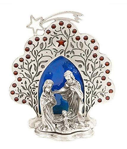 Eurofusioni Pesebre de Plata chapeada Sagrada Familia con Estrella - Adorno navideño