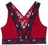 Fila Women's Logo Cotton Cross-Back Sports Bra, Red, X-Large