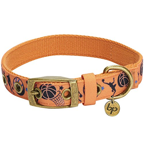 Blueberry Pet 5 Patterns Durable Sports Fan Basketball Canvas Dog Collar with Metal Buckle in Passion Orange, Neck 13-16.5
