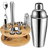 750ml Cocktail Shaker Set mit Holzstand, 10 Teiliges Barkeeper Set Cocktail Shaker Edelstahl Bar-Werkzeug-Set, Bar Set Bar Zubehör Shakerset