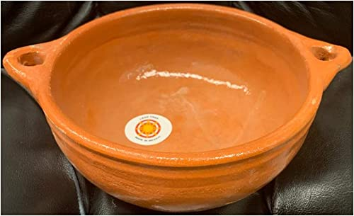 """high quality Made in Mexico Plato Mexican Deep Dish Salad lowest Bowl Clay Ensaladera De Barro 9.5""""x4"""" Large With sale Handles outlet sale"""