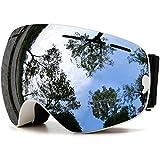 LAMZH Gafas de esquí Snowboard sin marco, lente intercambiable, 100% UV 400 protección para...