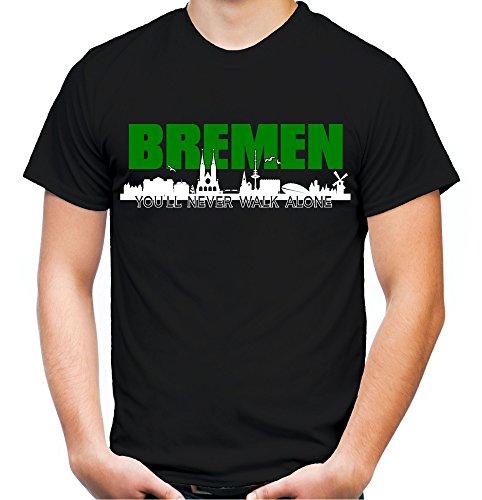 Bremen Skyline Männer und Herren T-Shirt   Fussball Ultras Geschenk (L, Schwarz)