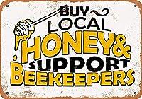 Shimaier 壁の装飾 メタルサイン Buy Local Honey Support Beekeepers ウォールアート バー カフェ 縦20×横30cm ヴィンテージ風 メタルプレート ブリキ 看板