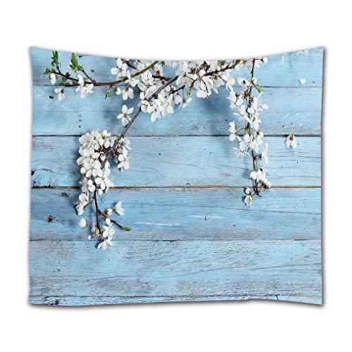 A.Monamour Tapices Flores Blancas En Azul Tablones De Madera Piso Textura De Madera De Fondos Impresión Textil Tejido Tapiz Tapices De Pared Divisores del Dormitorio Colcha 102x153cm