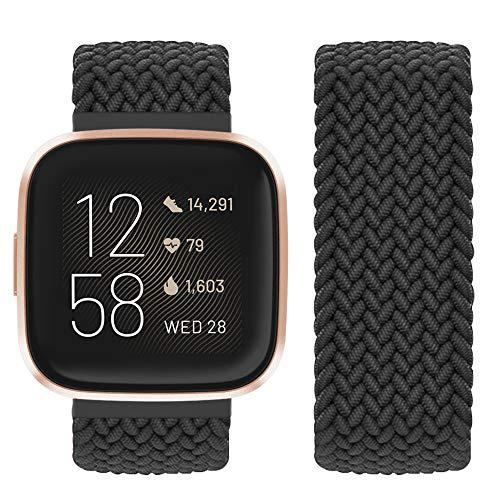 Vozehui Kompatibel mit Fitbit Versa Armband/Fitbit Versa 2 Armband, elastisch atmungsaktives, weiches Nylon Strick Sportersatzband für Fitbit Versa 2/Fitbit Versa/Versa Lite, Damen Herren
