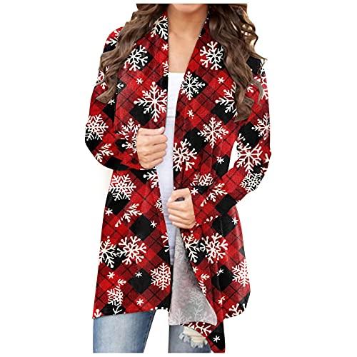 Abrigo de punto para mujer de Navidad, chaqueta de punto de manga larga, parte delantera abierta, disfraz de Navidad, ligero, con diseño de copo de nieve, a cuadros, cárdigan para mujer, Negro , XL