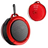 Acuvar Wireless Waterproof Rechargeable Shower Speaker with Suction Cup, Built-in Mic, Media Control Buttons (Redd)