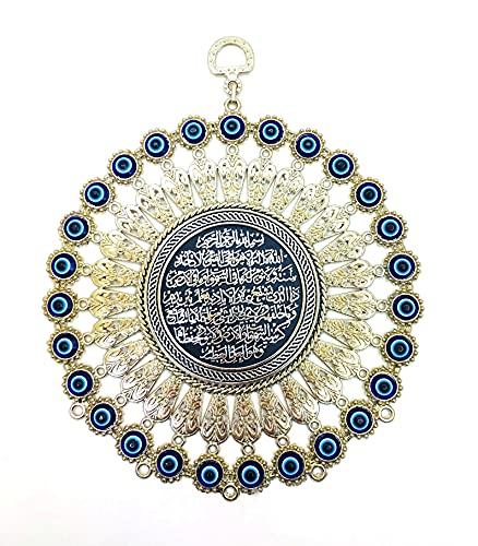 Nazar Boncuk Boncug - Cuadro de pared turco con ojo azul de ojo turco, Ayetel Kürsi, plata colgante de 16 cm, ojo de boese, ornamento, amuleto decorativo para el hogar, regalo