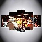 Cuadro en Lienzo Impresión de 5 Piezas Impresión Artística Imagen Gráfica Decoracion de Pared Moderno Música batería Set Instrumentos Enmarcado