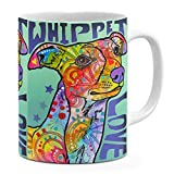 Dean Russo Whippet Love Coffee Ceramic Mug  Christmas Birthday Valentine's Mothers Fathers Day Gift For Dog Lover Mom Dad Friend Pet Owners colorful Whippet pop Art - White Mug