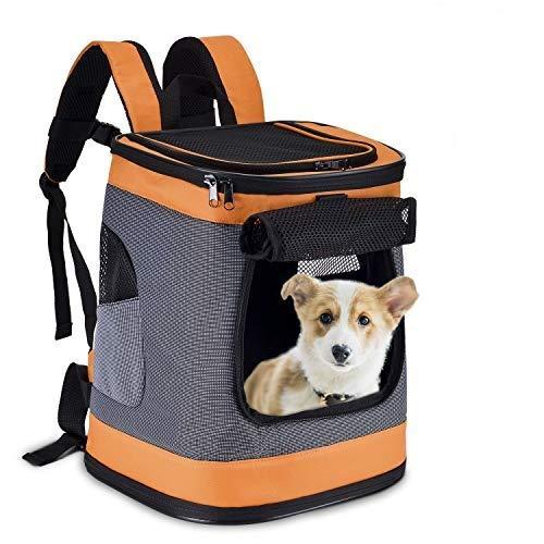 HAPPY HACHI Mochila Plegable para Perros Gatos Transporte para Perro Bolso Transportín Viaje con Correa Relleno Ajustable Camiseta Transpirable Naranja