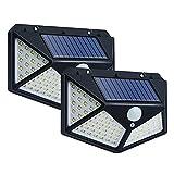 Luz solar 2 piezas 114 Lámpara solar LED Focos solares para exteriores con sensor de movimiento PIR Luz de calle para...