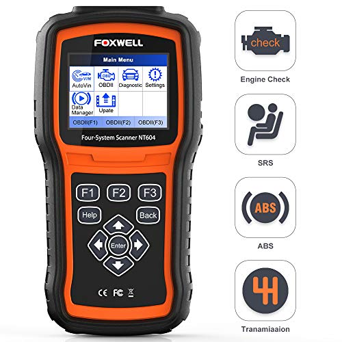 FOXWELL NT604 OBD2 Scanner 4 System Code Reader Check Engine/ABS/SRS/Transmission Car Diagnostic Tool, ABS Scan Tool, Air Bag & SRS Scanner for All Makes, 2020 New Version with Latest Software
