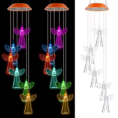 SUMBLIME Solar Wind Chimes Changing Colors - 2Pack Decorative Angel Hanging Lights for Outdoor Decor Home Patio Yard Tree, Gift for Mom, Grandma, Daughter, Granddaughter