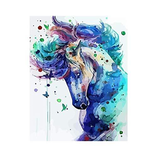 JRSART Schilderen met cijfers DIY Kits Kids Cadeaus voor huis - paard 40 x 50 cm - zonder lijst